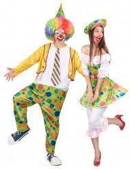 Disfraz de pareja payaso con puntos adulto