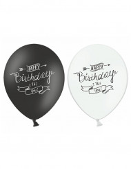 6 Globos Happy Birthday negro y blanco 30 cm