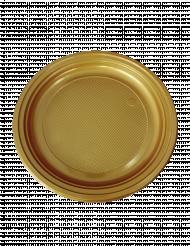 50 Platos de postre de plástico dorado 16 cm