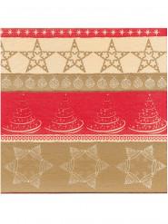 12 Servilletas Navidad papel espeso Premium rojo y dorado 40x40 cm