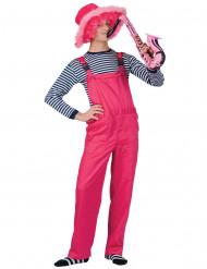 Disfraz traje rosa fluo adulto