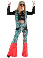 Disfraz hippie azul psicodélico mujer
