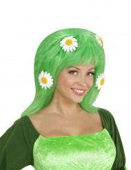 Peluca verde con margaritas mujer