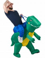 Disfraz de explorador con dinosaurio adulto