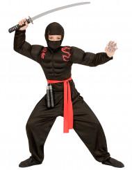 Disfraz de ninja musculoso negro niño