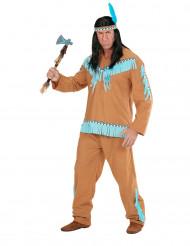 Disfraz de indio marrón y azul hombre