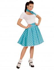 Disfraz años 50 azul turquesa puntos mujer