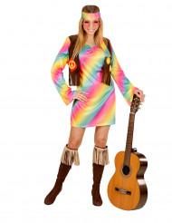 Disfraz hippie multicolor para mujer