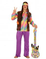 Disfraz hippie multicolor pastel hombre