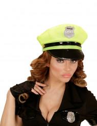 Gorra de policía amarilla adulto