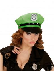 Gorra de policía verde adulto