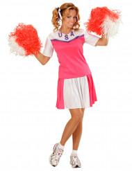 Disfraz de animadora rosa y blanco mujer