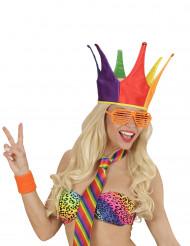Sombrero bufón del rey multicolor adulto