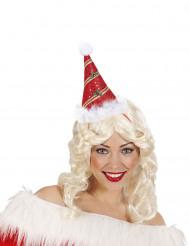 Sombrero puntiagudo rojo acebo adulto Navidad