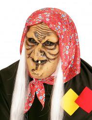 Semi máscara de bruja vieja con pelos blancos