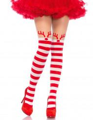 Pantys a rayas rojas y blancos reno mujer Navidad