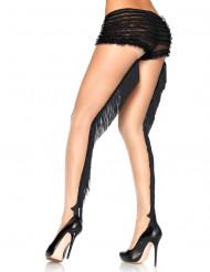 Medias color carne con flecos negros cabaret luxe mujer