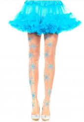 Medias de color piel con copos de nieve azules mujer