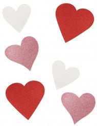 6 Decoraciones de cartón corazón con brillantinas