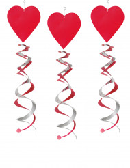 3 Decoraciones espirales corazones rojos