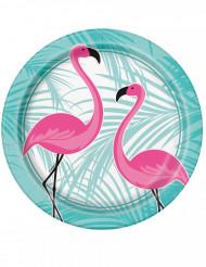 8 Platos de cartón flamenco rosa 22 cm