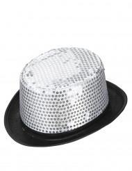 Sombrero de copa con lentejuelas plateadas adulto