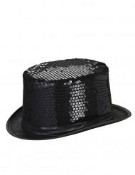 Sombrero de copa con lentejuelas negras adulto