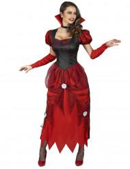 Disfraz de vampiro con rosas blancas Mujer