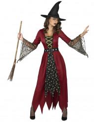 Disfraz de bruja roja y dorado mujer