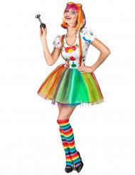 Disfraz de payaso pintor multicolor mujer
