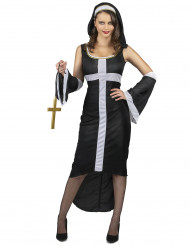 Disfraz de monja sexy cruz blanca mujer