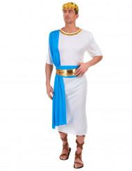 Disfraz de emperador griego azul hombre