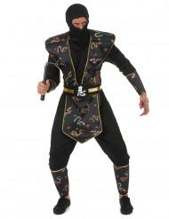 Disfraz de ninja dragón dorado hombre