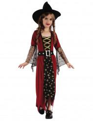 Disfraz de bruja burdeos y dorado niña