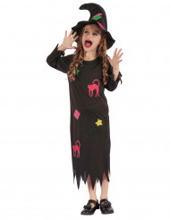 Disfraz de bruja divertida niña
