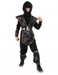 Disfraz de ninja negro y dorado Niño