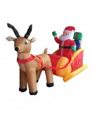 Decoración Papá Noel sobre su trineo inflable y luminoso 180 cm Navidad