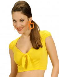Camiseta top amarillo con lazo sexy