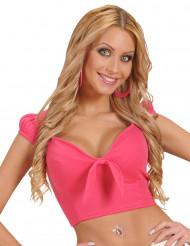 Camiseta top rosa con lazo sexy mujer