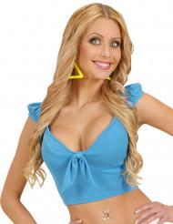 Camiseta azul turquesa con nudo sexy mujer