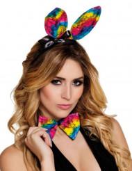 Orejas y pajarita conejo multicolor adulto