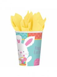 8 vasos de cartón con conejitos de Pascua