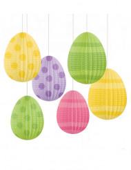 6 Decoraciones colgantes huevos de Pascua 12 cm