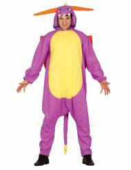 Disfraz de dragón de fuego violeta adulto