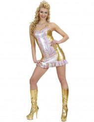 Disfraz holográfico multicolor dorado mujer
