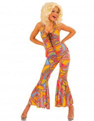 Disfraz traje hippie multicolor mujer