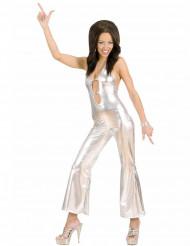 Disfraz traje disco plateado sexy mujer