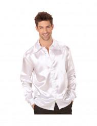 Camisa satinada blanca hombre