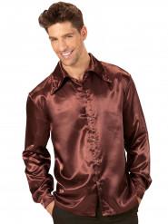 Camisa satinada marrón hombre