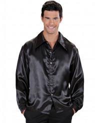Camisa satinada negra hombre